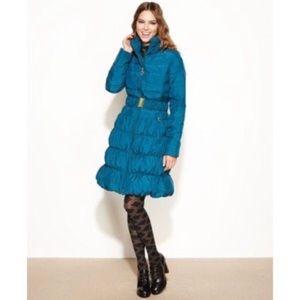 Betsey Johnson fun teal down winter coat HTF sz L